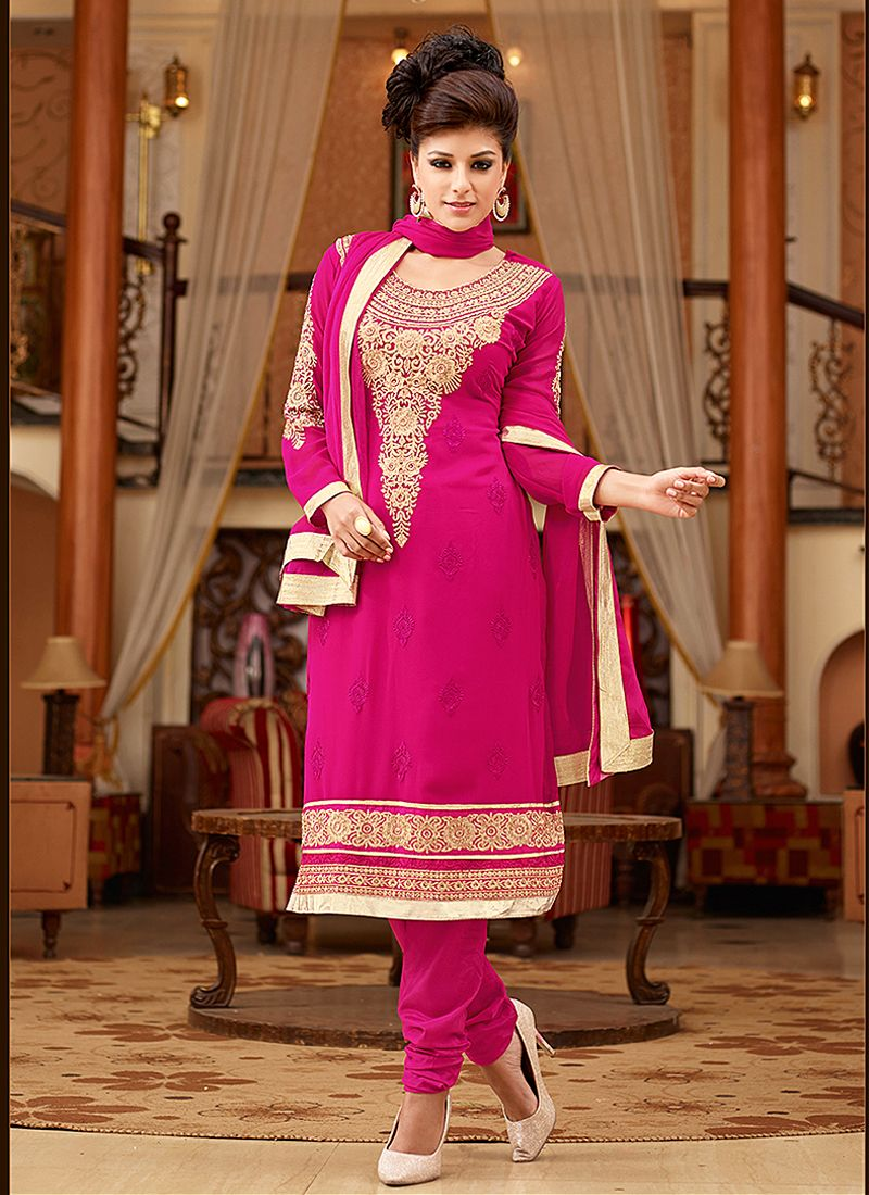 Preety Pink Resham Work Churidar Suit