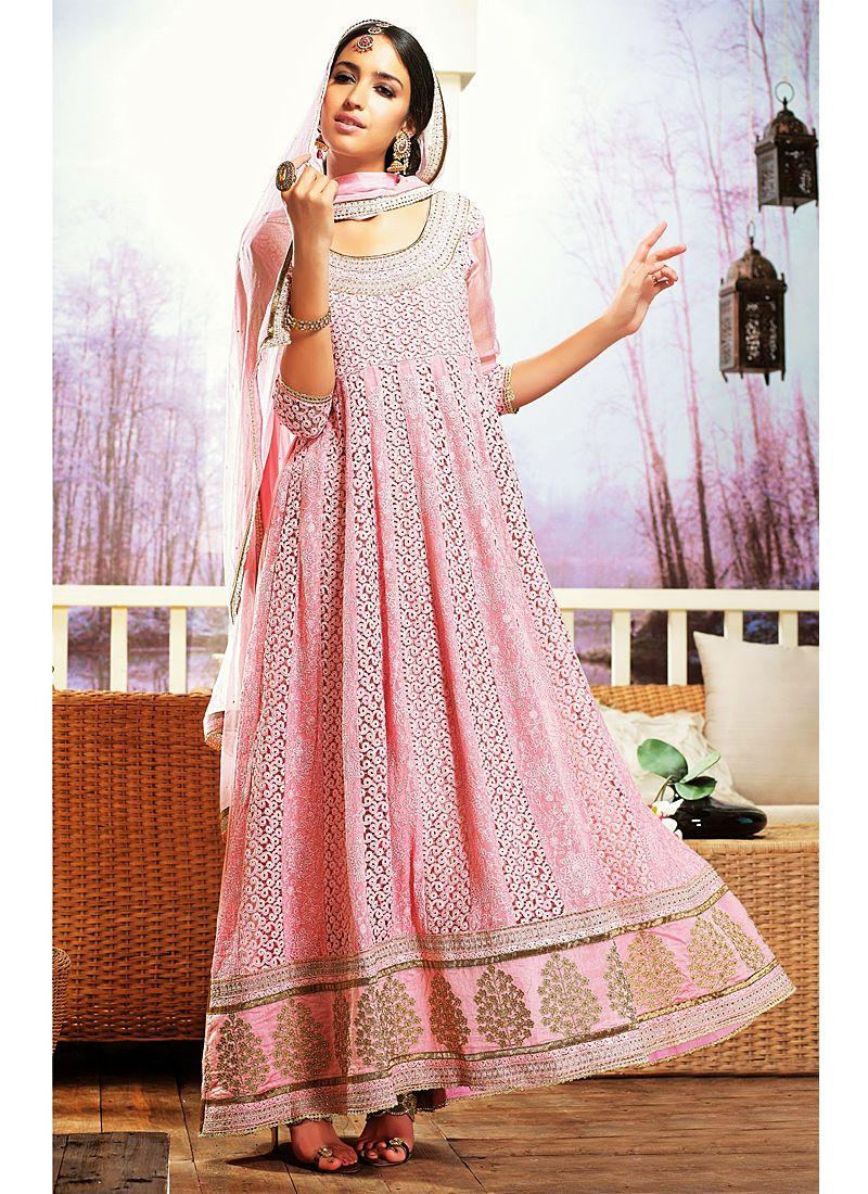 Preety Pink Resham Work Faux Georgette Anarkali Suit