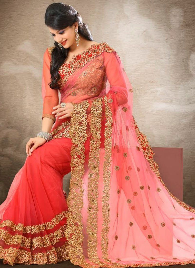 Preety Pink Shade Embroidery Work Net Saree