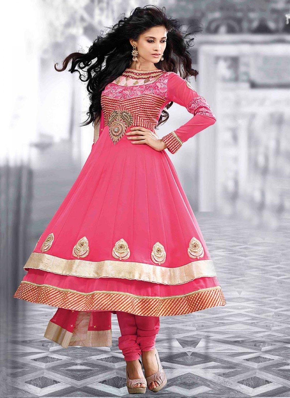 Preety Pink Shaded Faux Georgette Anarkali Suit