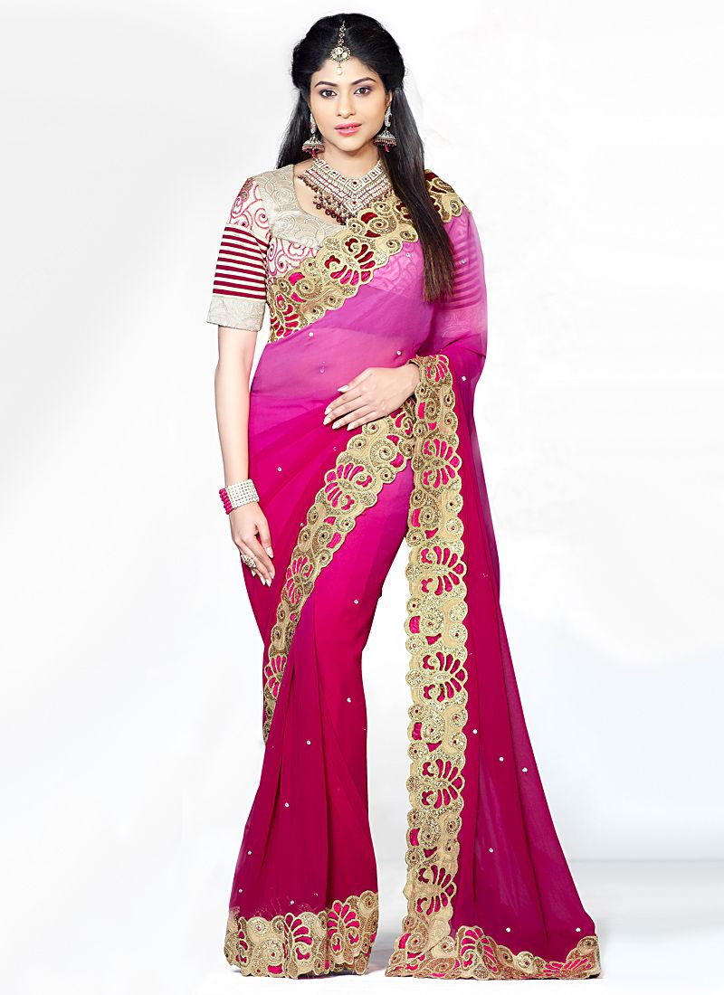 Preety Pink Zari And Embroidered Faux Georgette Saree