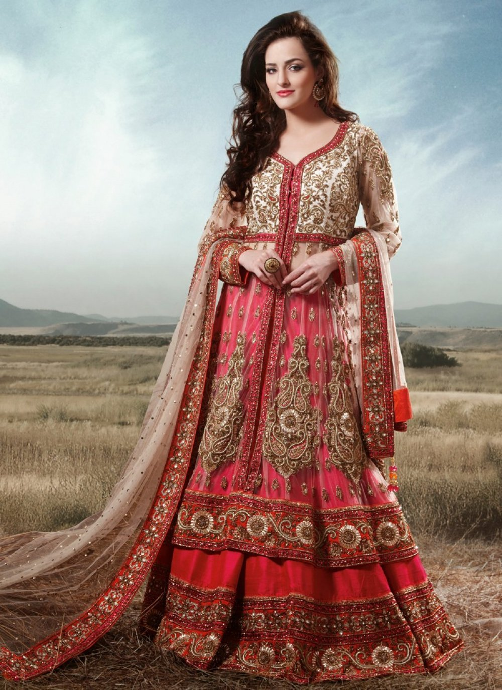 Preety Red Stone Work Bridal Lehenga Choli