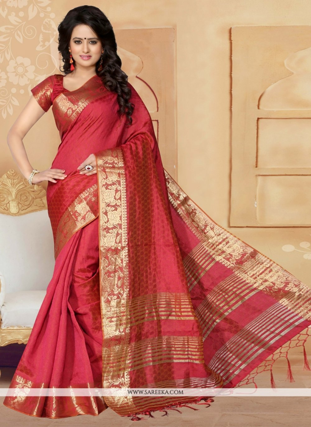 Banarasi Silk Patch Border Work Designer Saree