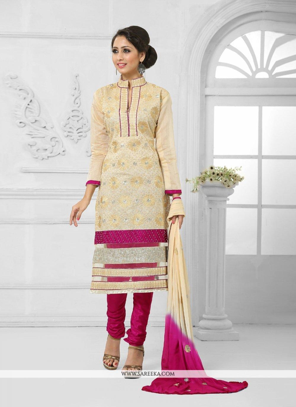 Cotton   Lace Work Churidar Salwar Suit