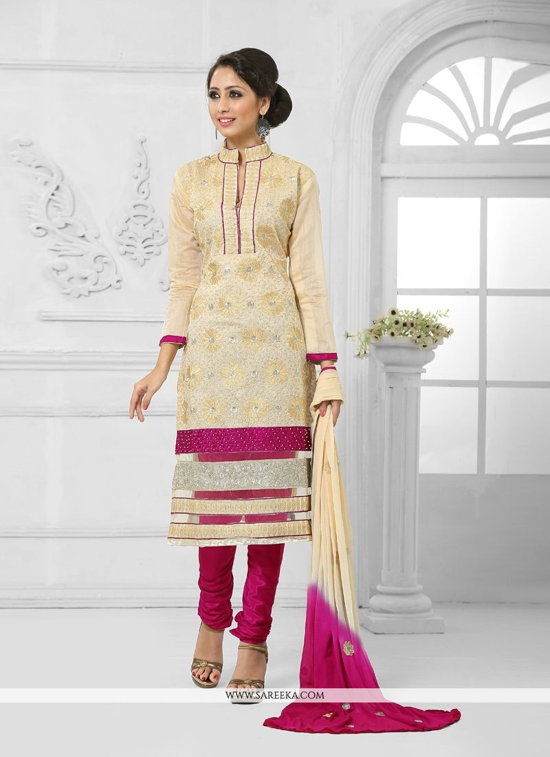 Cotton   Lace Work Churidar Salwar Suit