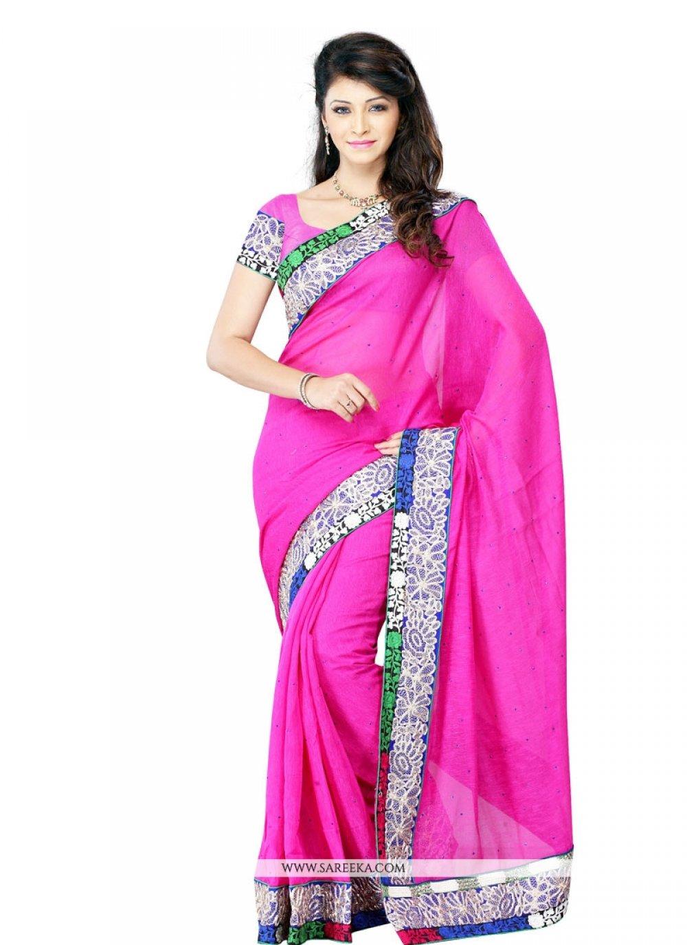 Hot Pink Embroidered Work Art Silk Designer Saree