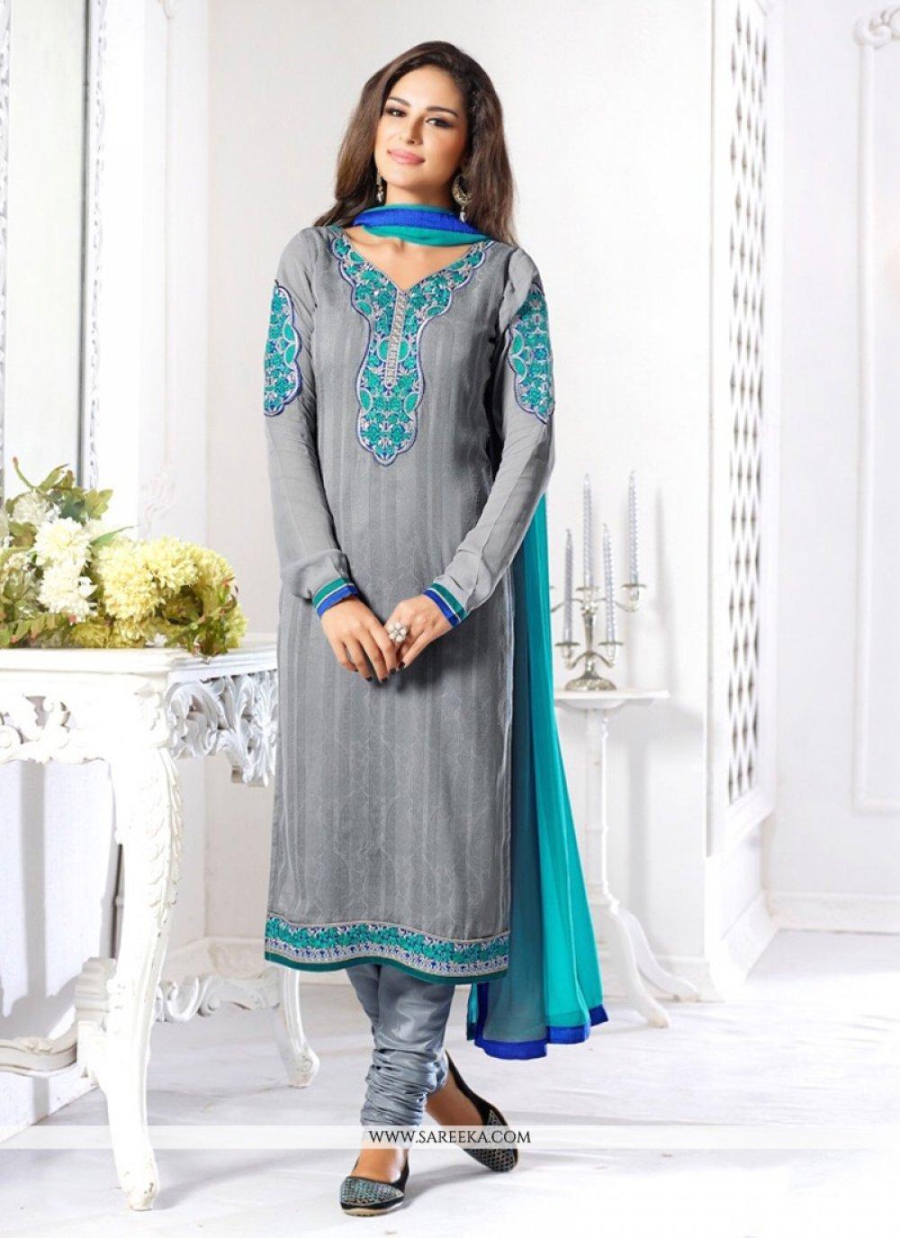 Jacquard Grey Churidar Salwar Suit