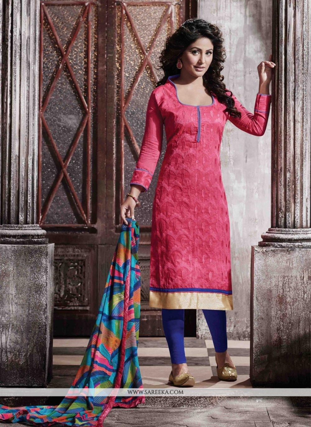Lace Work Hot Pink Designer Straight Salwar Suit