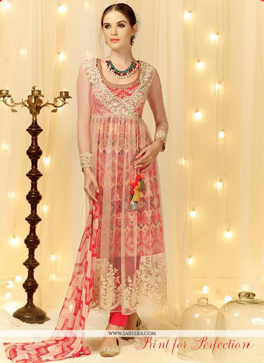 Resham Work Cream and Red Designer Salwar Suit