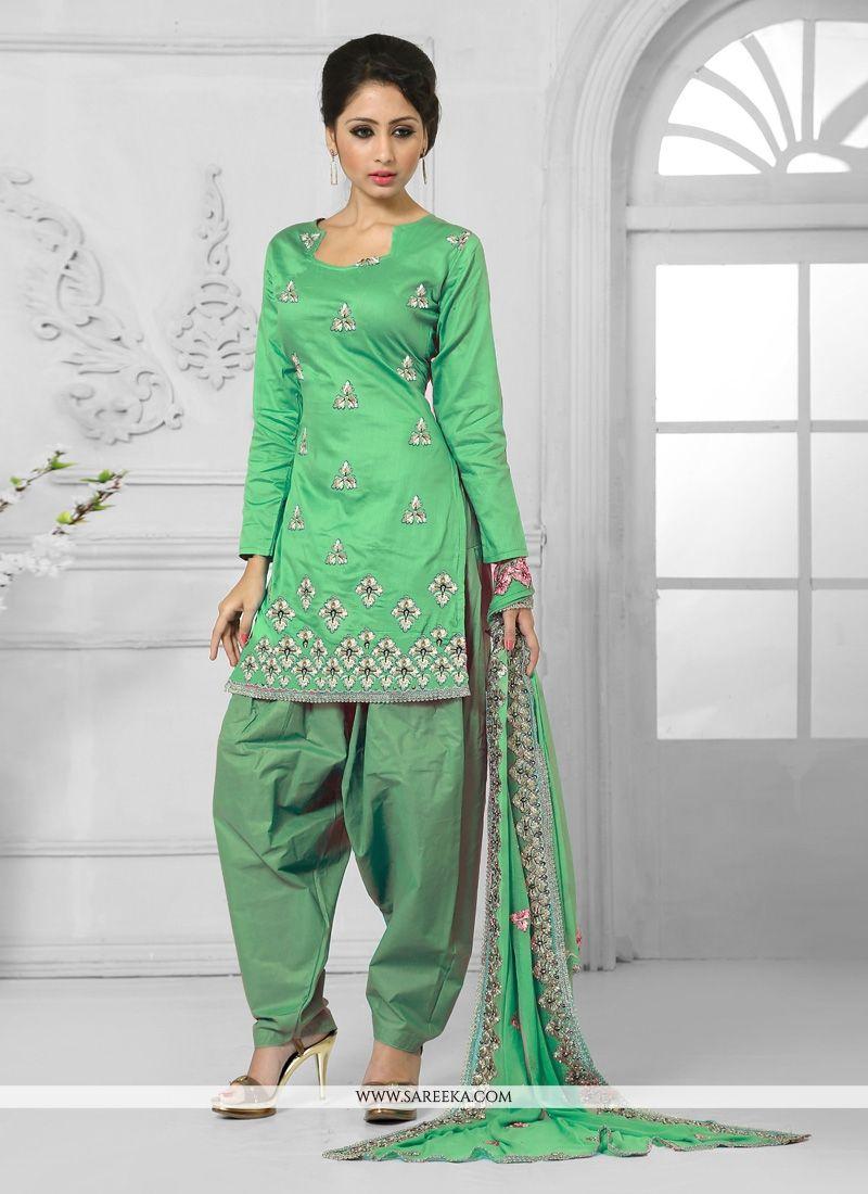 Cotton   Green Embroidered Work Designer Patila Salwar Suit