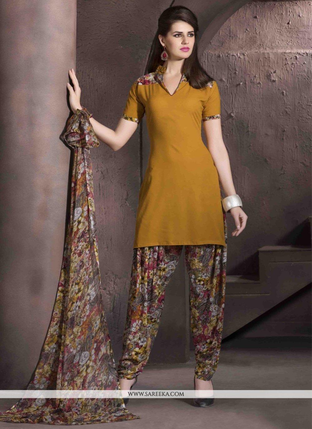 Faux Crepe Mustard Print Work Designer Patiala Salwar Kameez