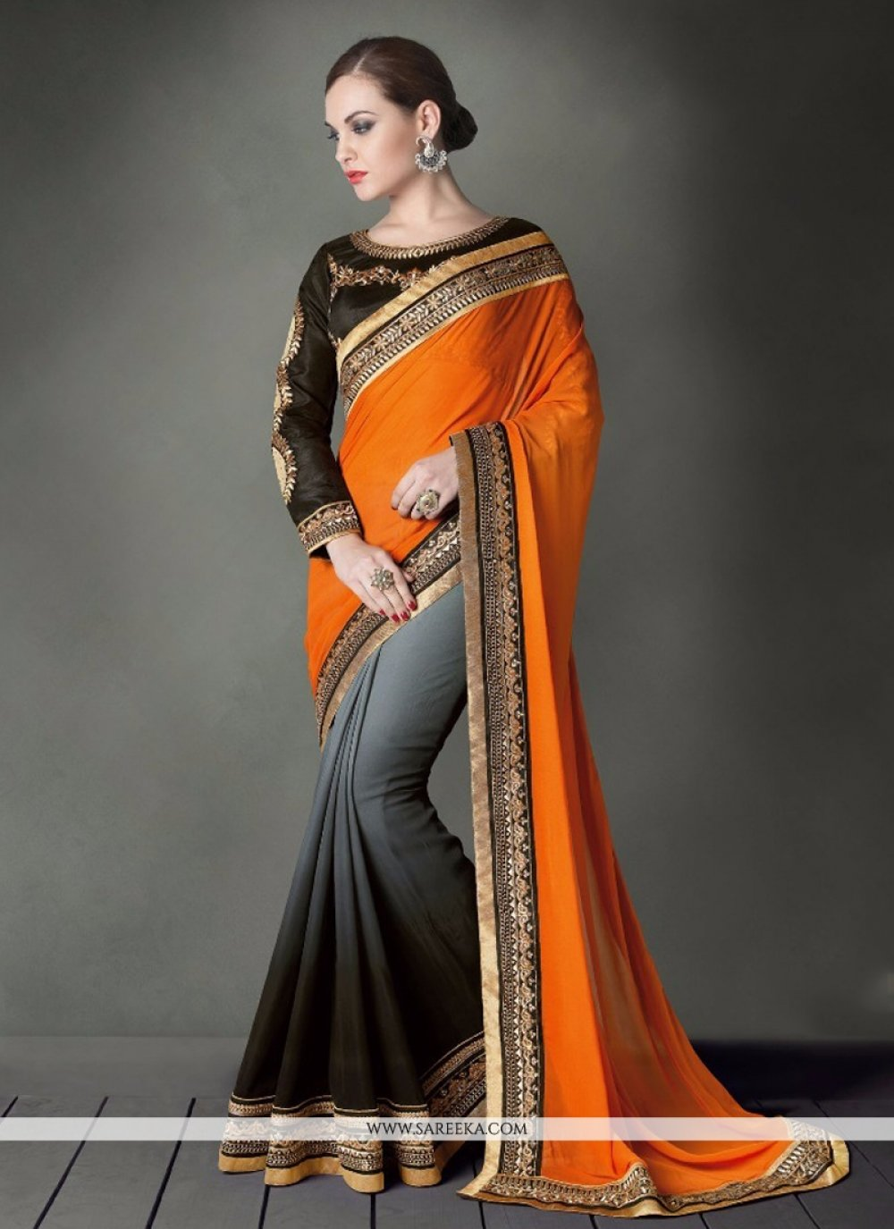 Georgette Black and Orange Designer Saree