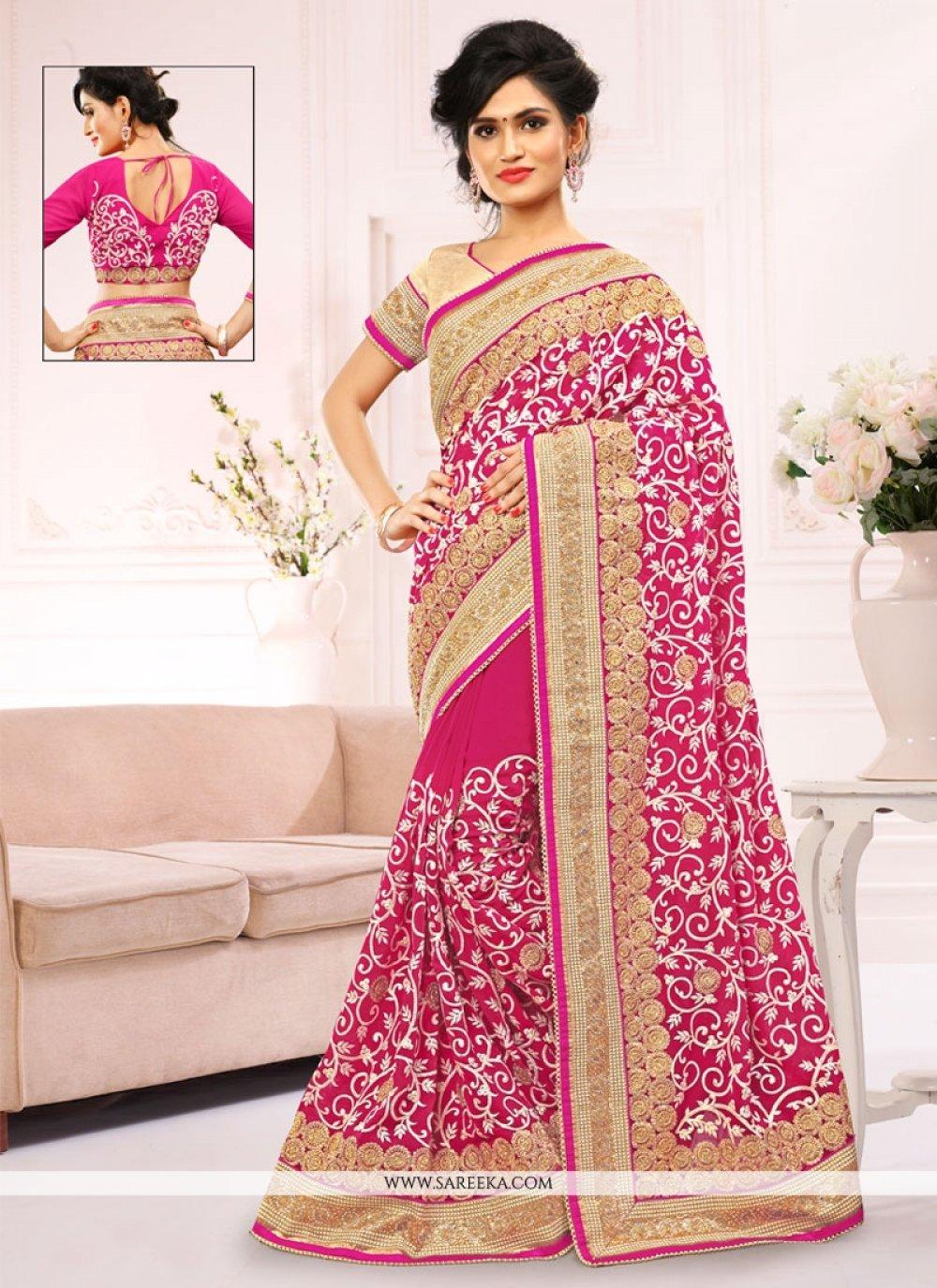 Georgette Pink Designer Saree
