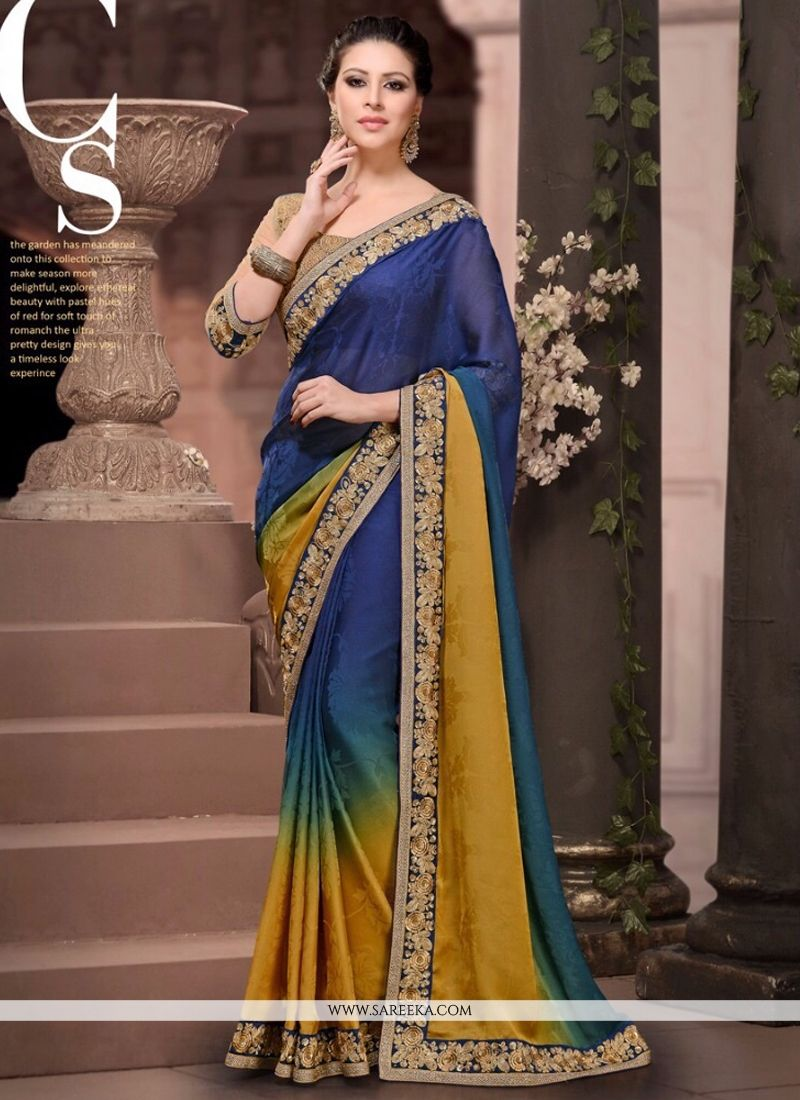 Satin Embroidered Work Designer Saree