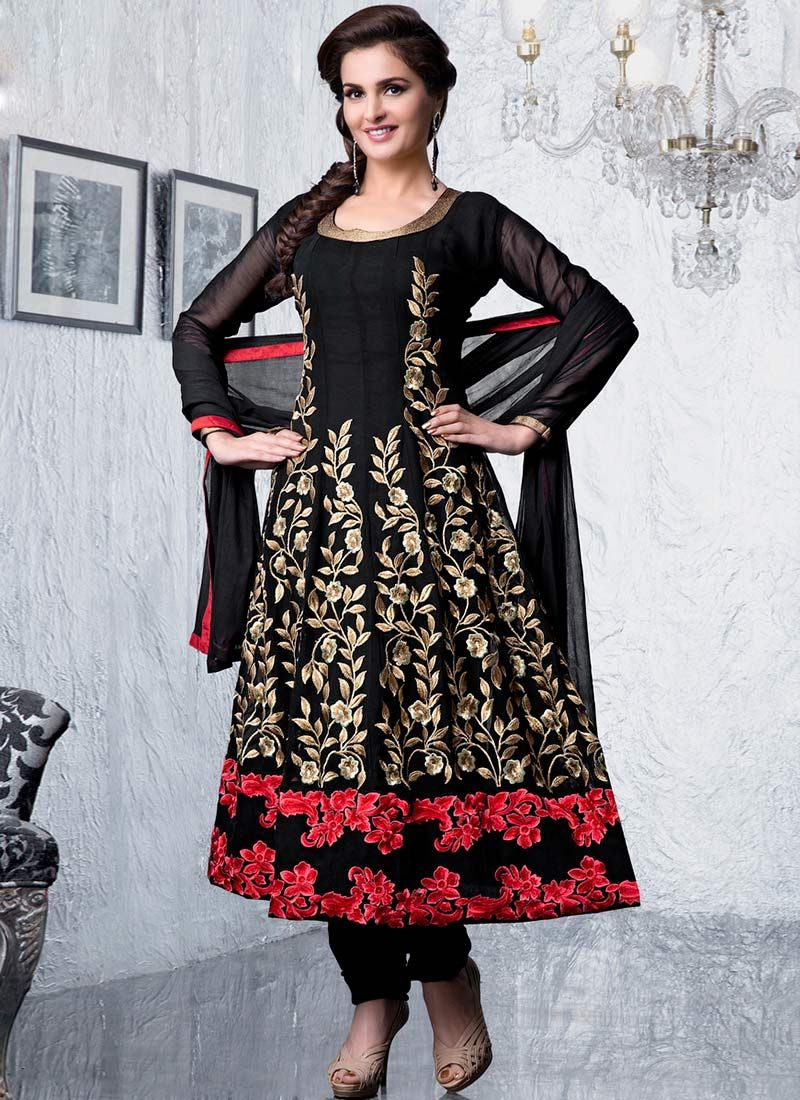 Black Resham Enhanced Churidar Suit