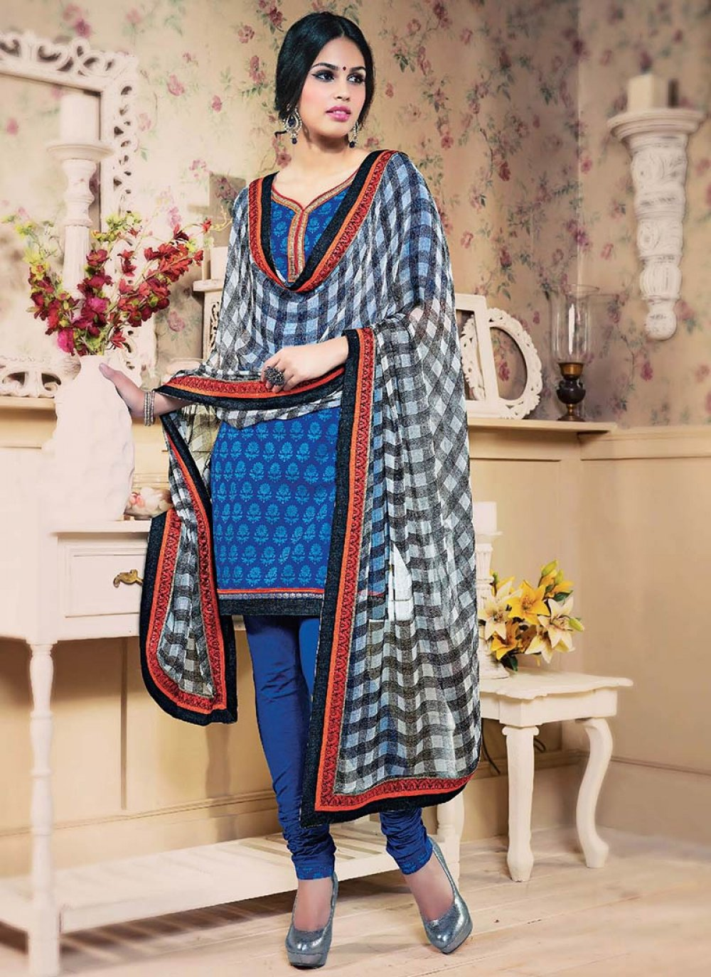 Blue Printed Cotton Churidar Suit