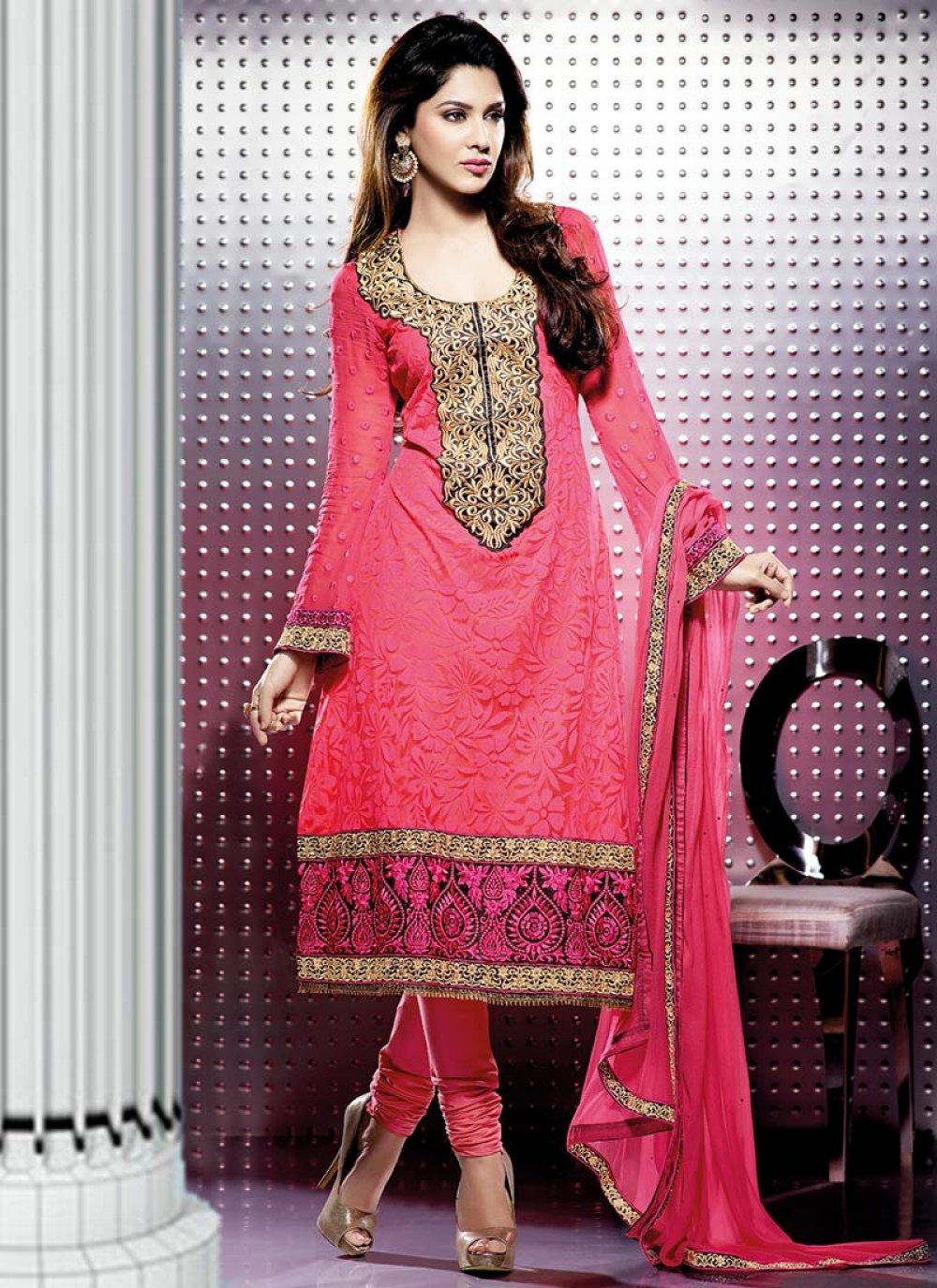 Carrot Pink Net Designer Churidar Suit