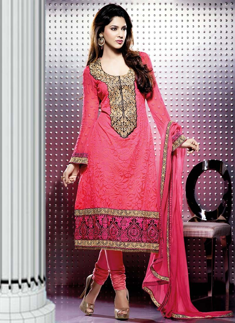 Carrot Pink Net Designer Churidar Suit