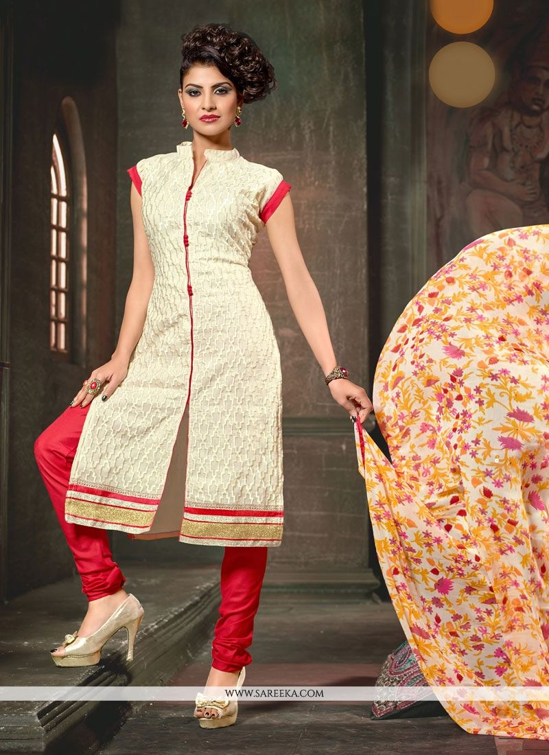 Chanderi Cream Lace Work Churidar Designer Suit