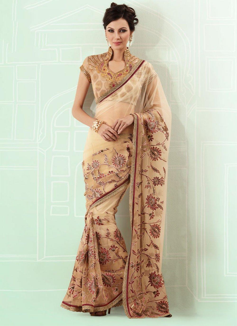 Dual Shaded Beige Net Saree