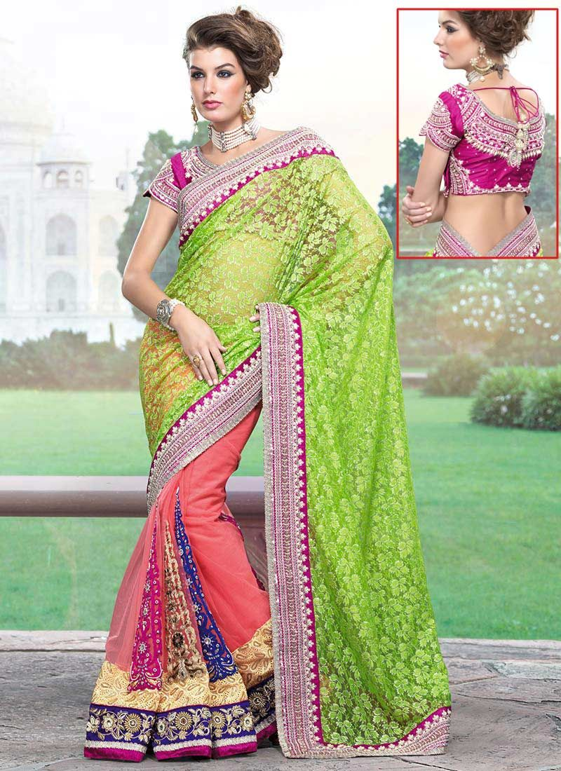 Green Half N Half Net Saree