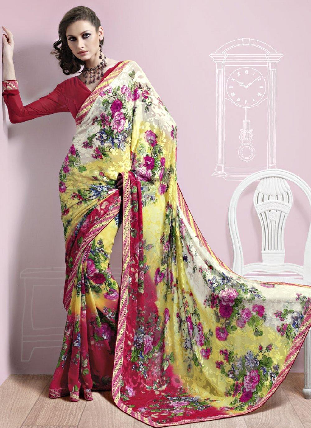 Multicolored Brasso Saree