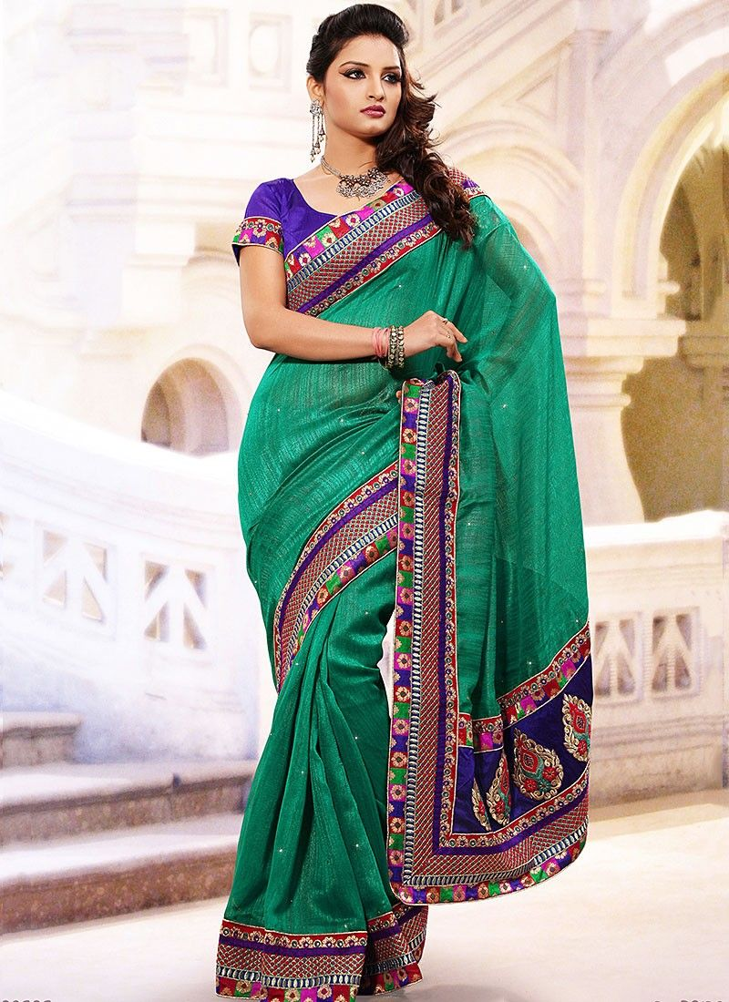 Patch Sea Green Enhanced Casual Saree