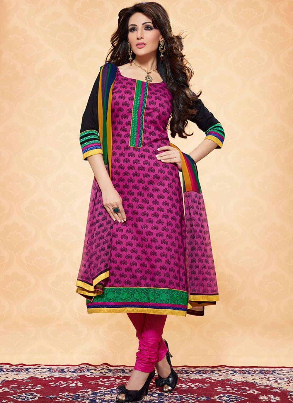 Pink And Black Printed Cotton Churidar Suit