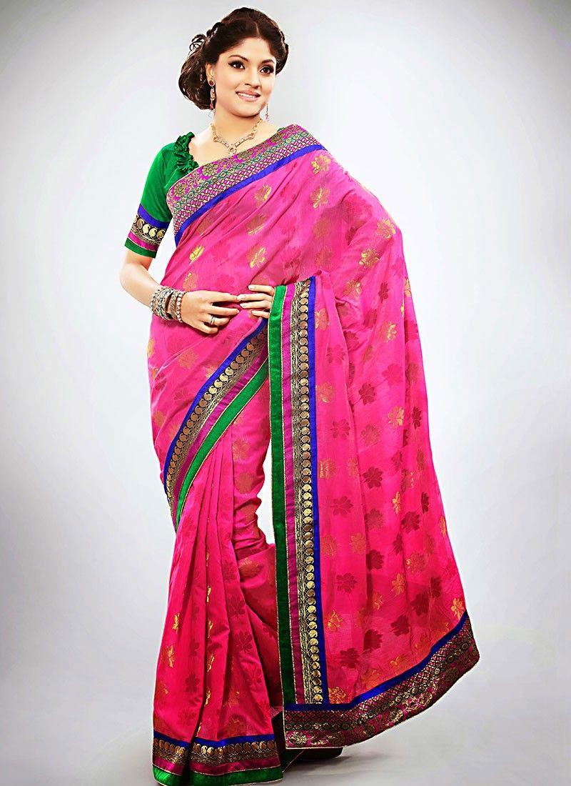 Pink Banarasi Art Silk Wedding Saree
