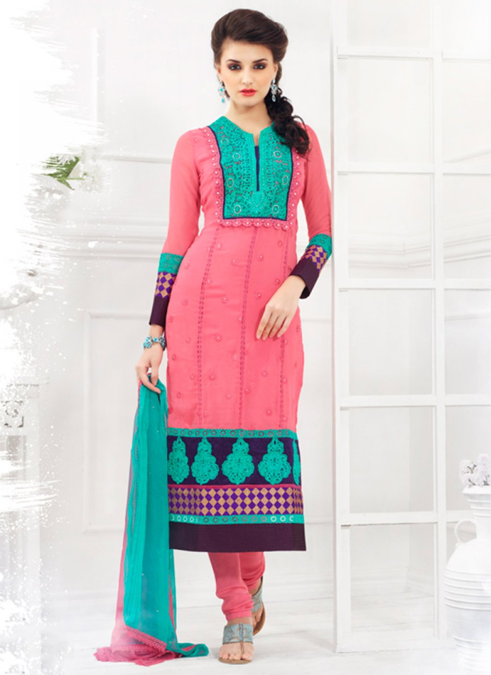 Pink Embroidered Georgette Churidar Suit