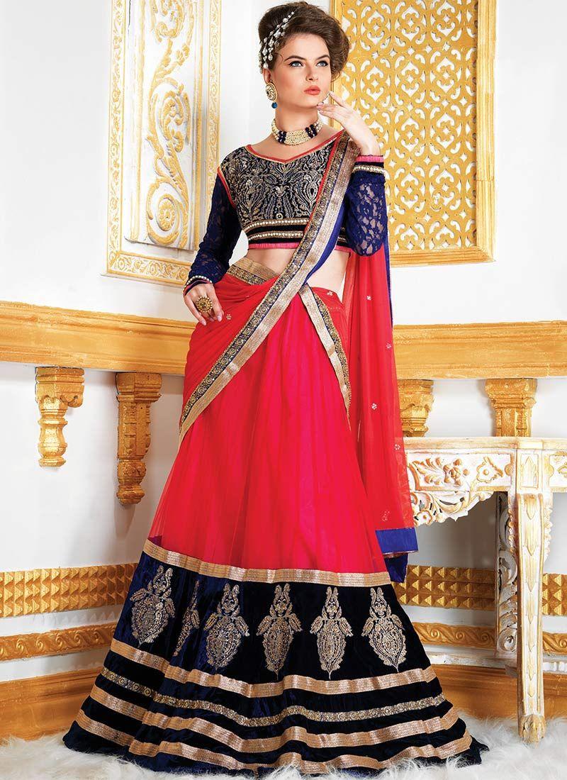 Pink Net Saree: Pink Net Lehenga Choli