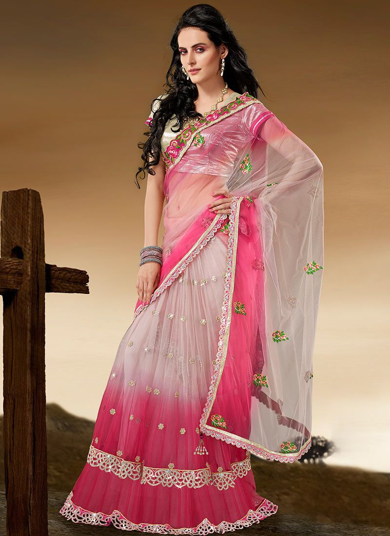 Pink Net Lehenga Style Saree