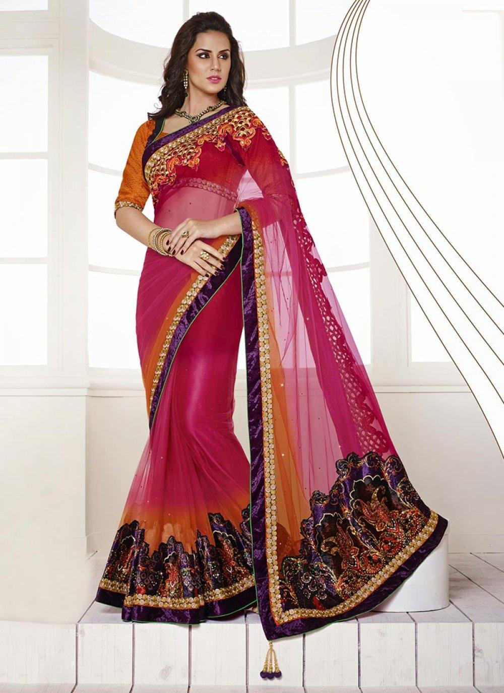 Pink Satin Saree