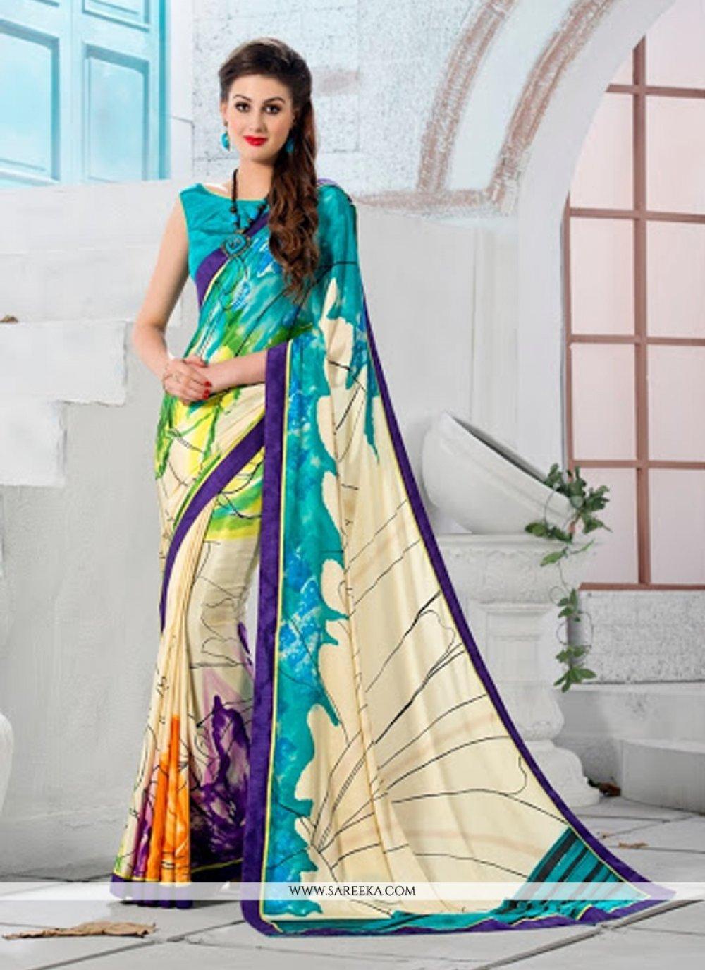 Print Work Crepe Silk Casual Saree