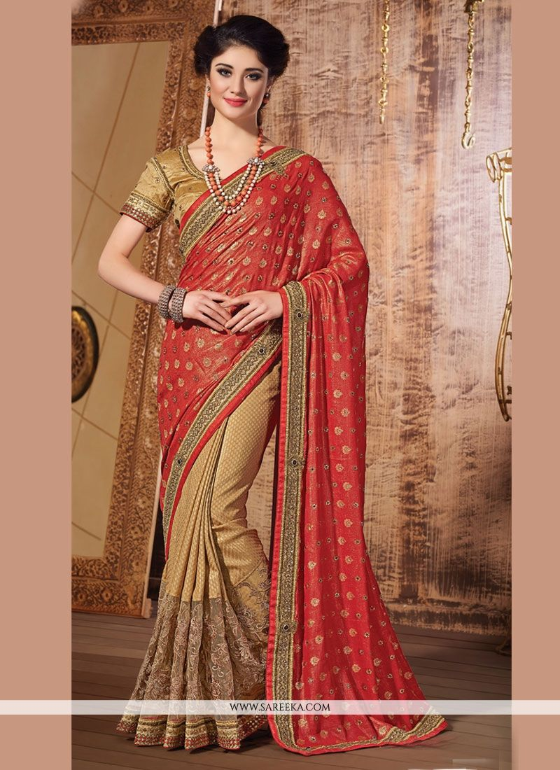Red and Beige Designer Saree