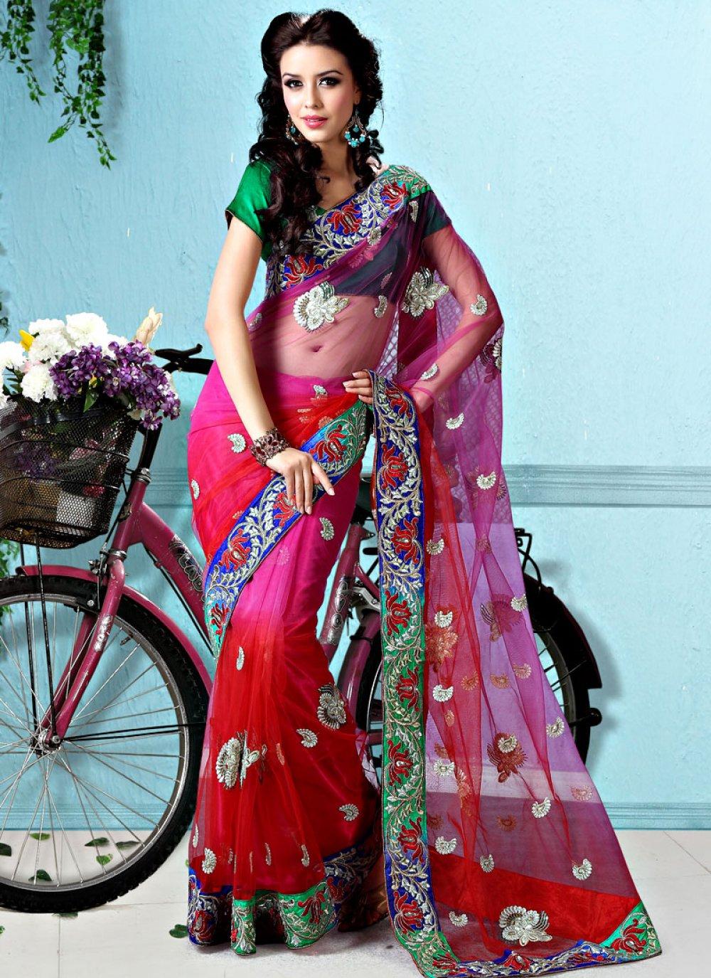 Red And Magenta Net Saree