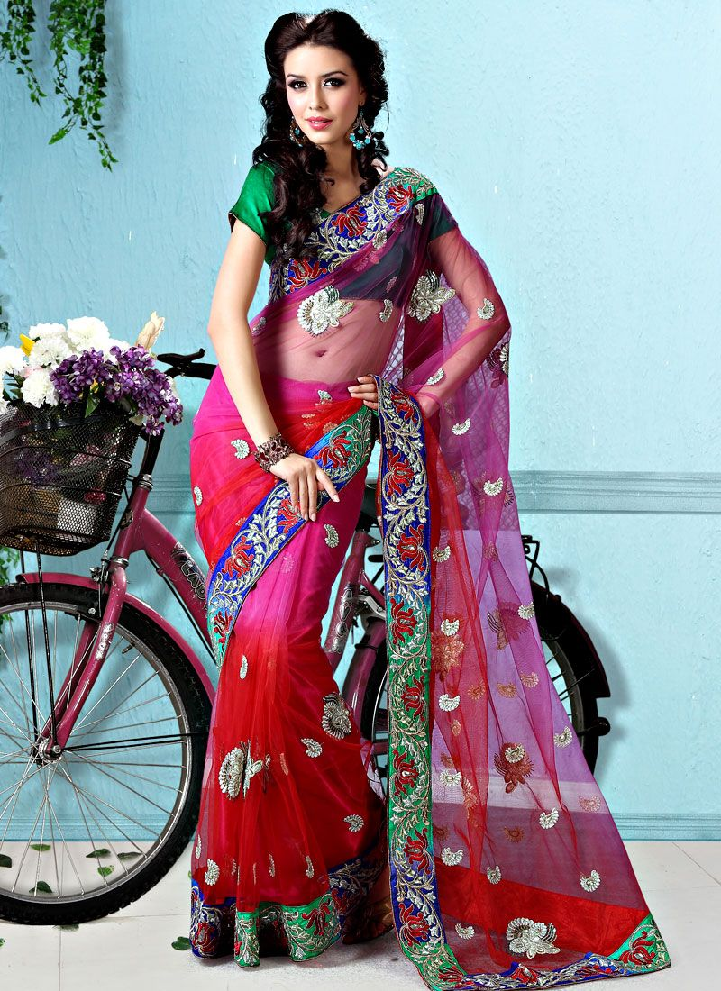 Red And Magenta Net Saree