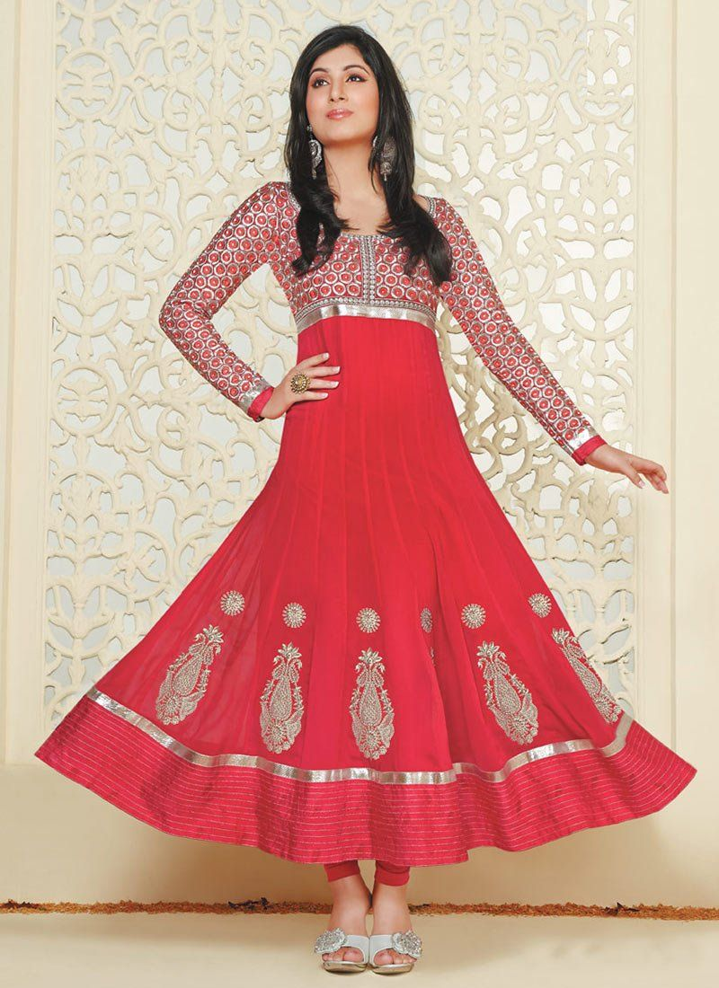 Red Faux Georgette Anarkali Suit