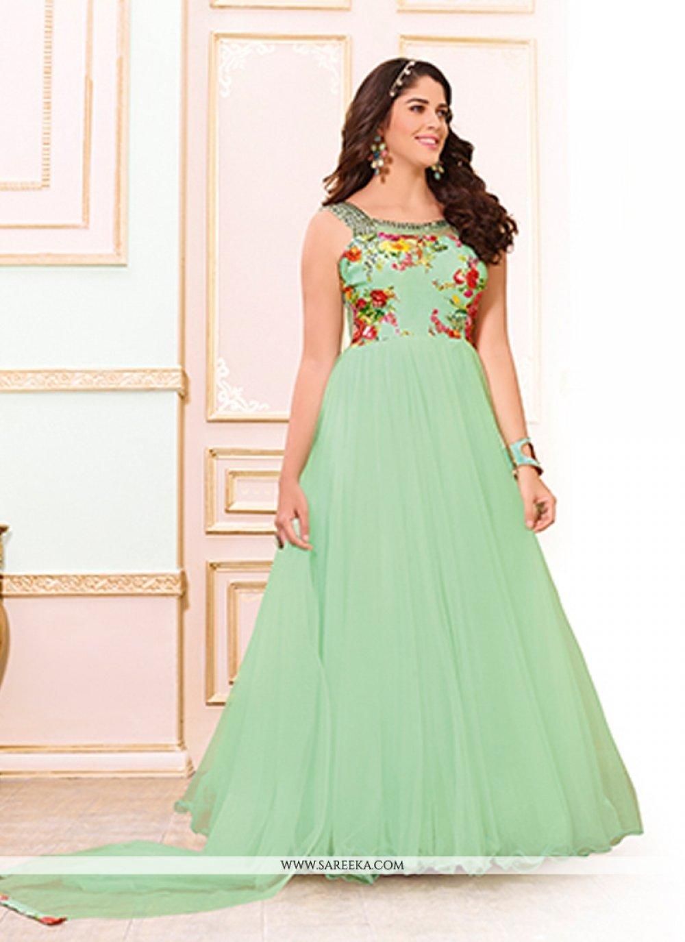 Sea Green Silk Designer Gown