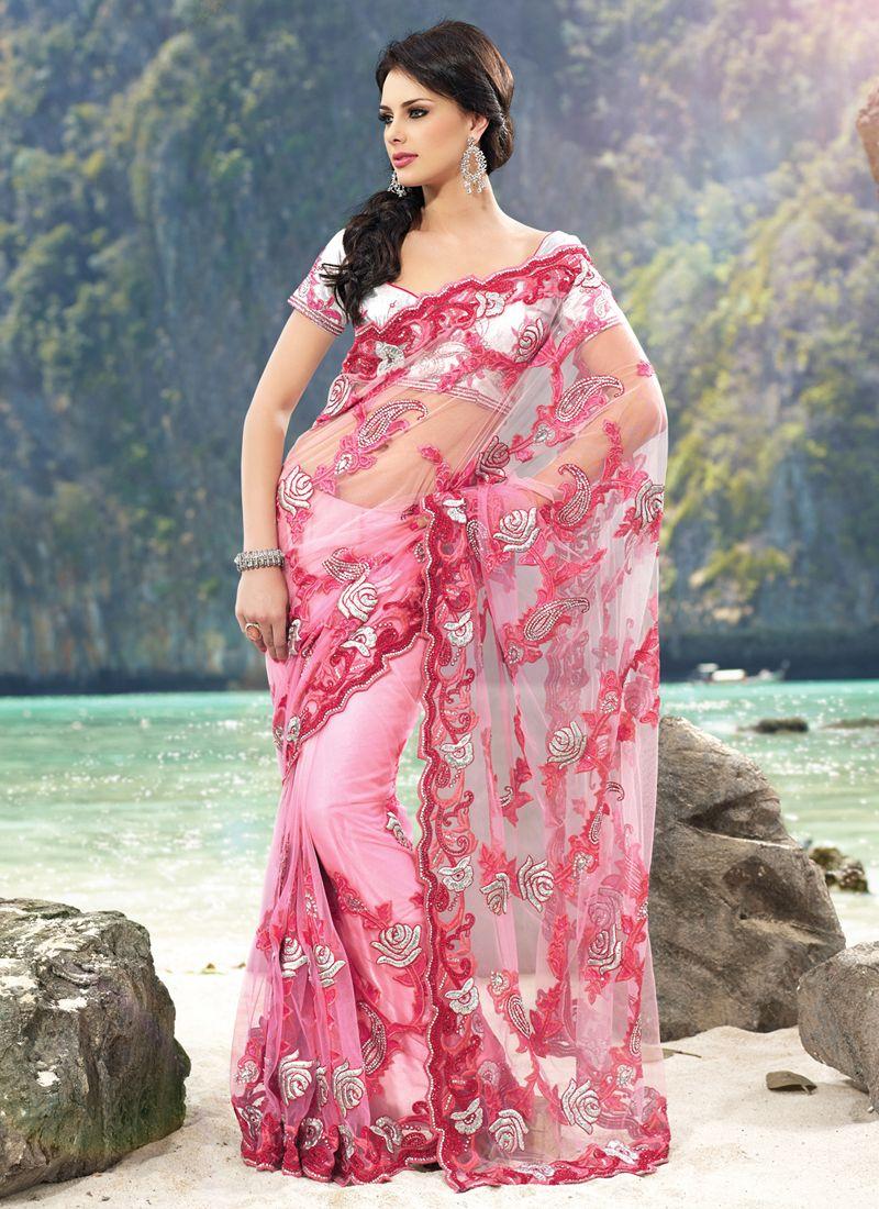 Shaded Light Pink Net Saree