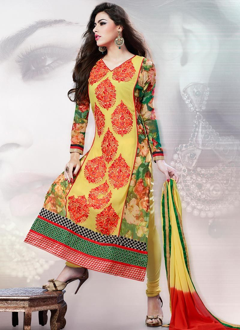 Yellow Georgette Churidar Suit