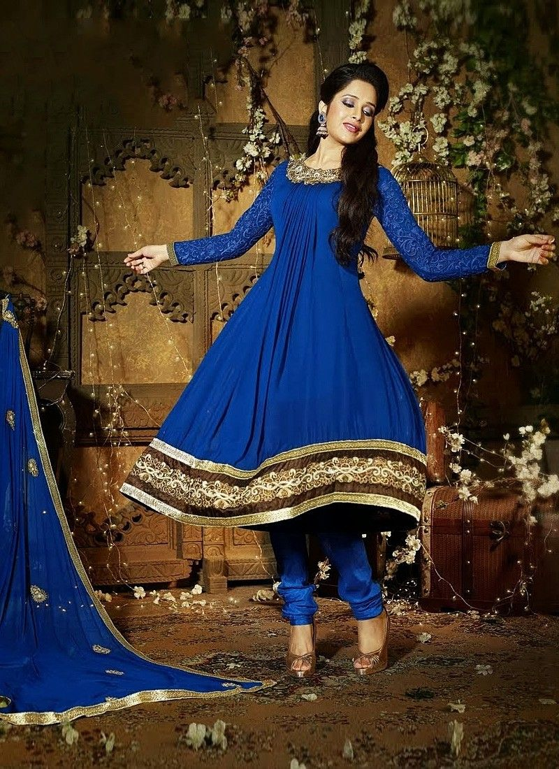 Prevailing Blue Faux Georgette Churidar Suit