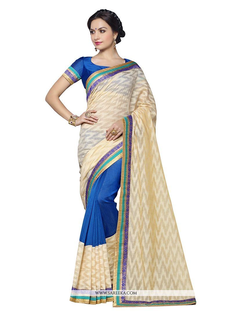 Banarasi Silk Blue Embroidered Work Designer Saree