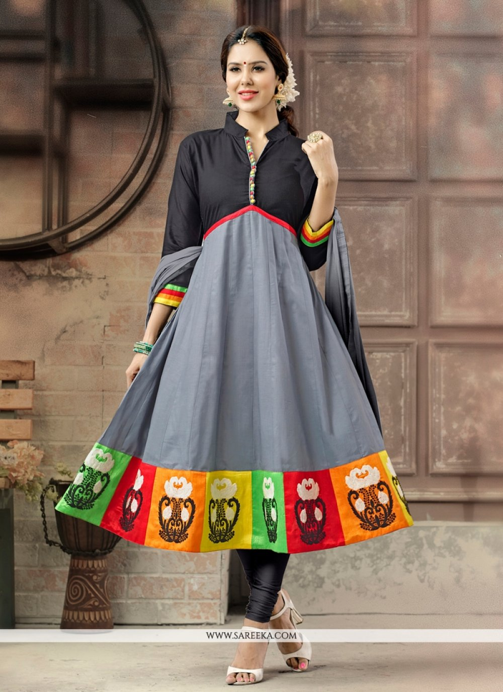 Cotton   Embroidered Work Anarkali Salwar Suit