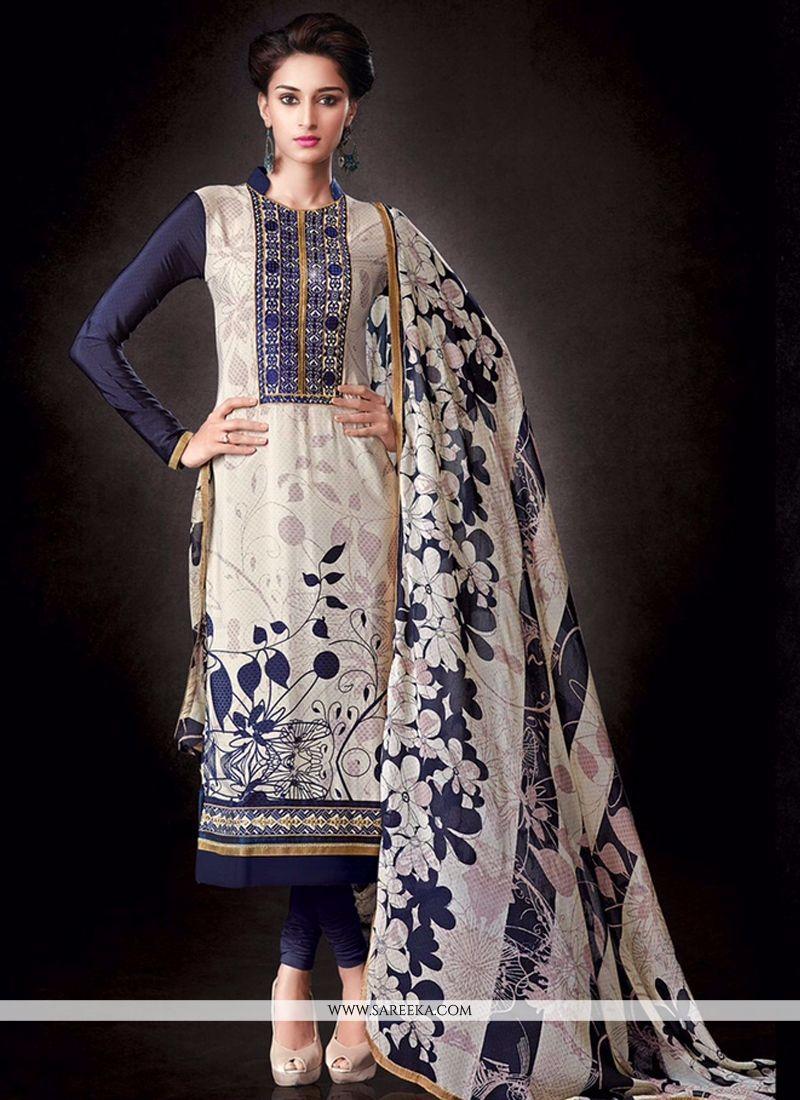 Faux Crepe White Print Work Churidar Salwar Kameez