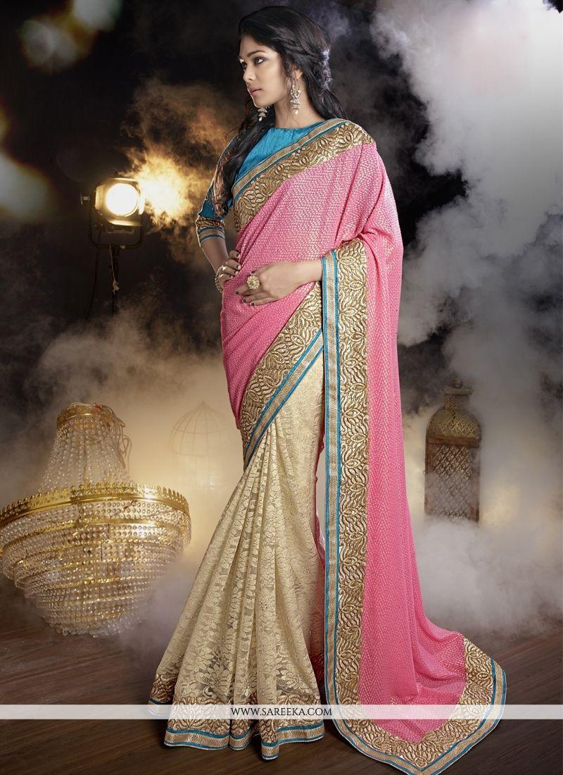 Hot Pink and Beige Patch Border Work Net Designer Saree