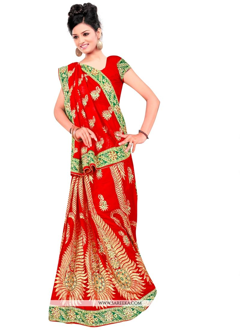 Red Zari Work Georgette Designer Contemporary Saree