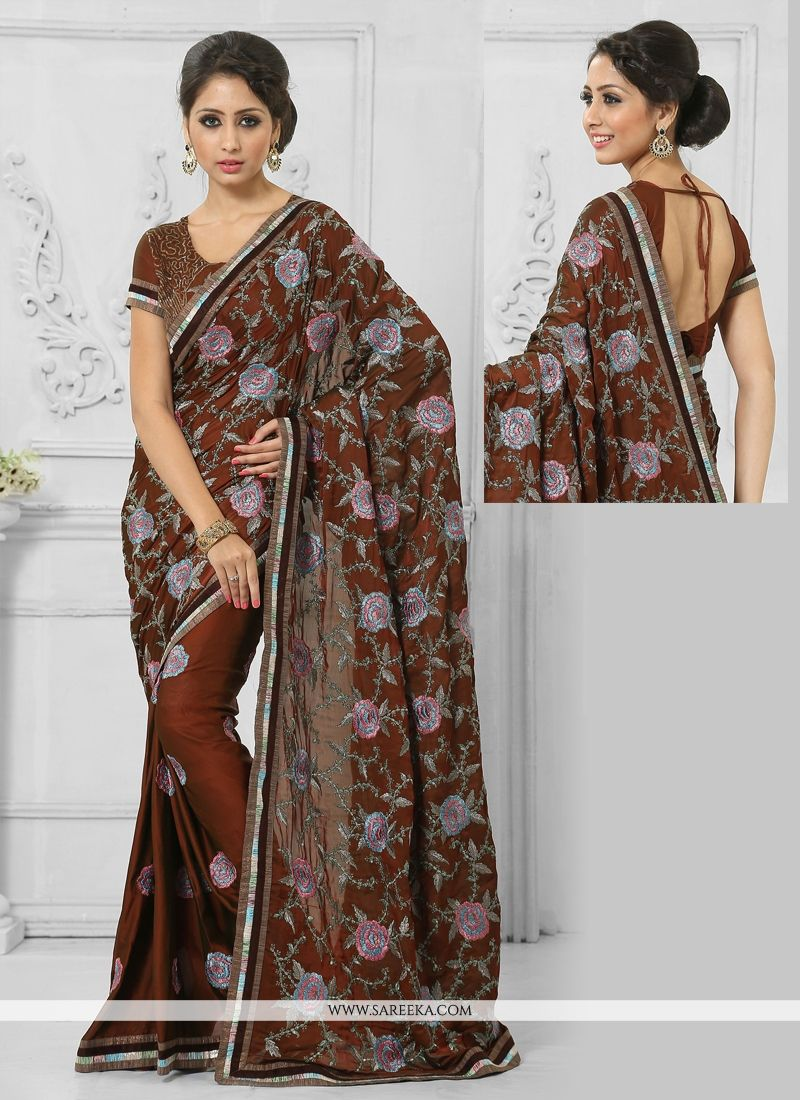 Resham Work Brown Crepe Silk Designer Saree