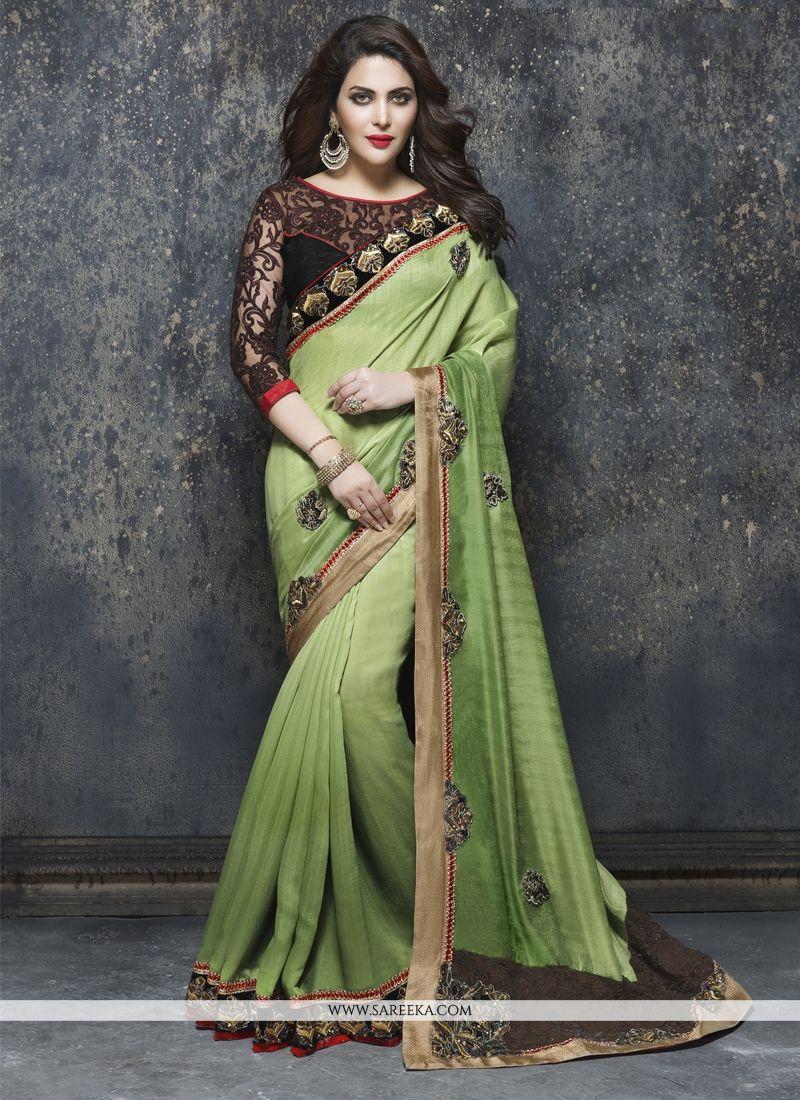 Bhagalpuri Silk Green Embroidered Work Designer Saree
