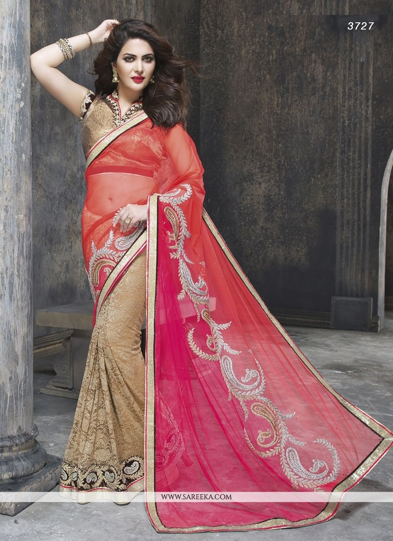 Patch Border Work Hot Pink and Beige Designer Saree